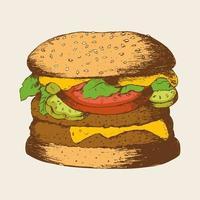 Skizze eines Hamburgers vektor