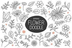 Frühlingsblumen kritzeln im handgezeichneten Stil. Blumen- und Blattelementkollektion.
