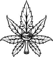 cannabisbladmaskot vektor