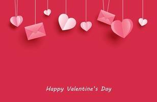 glückliche Valentinstaggrußkarten mit Papierherzen, die auf rotem Pastellhintergrund hängen.