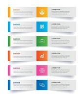 Registerkarte Infografiken im horizontalen Papierindex mit 6 Datenvorlagen. abstrakter Hintergrund der Vektorillustration. kann für Workflow-Layout, Geschäftsschritt, Banner, Webdesign verwendet werden.