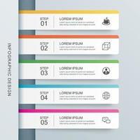 5 Dateninfografiken Registerkarte Papier Indexvorlage. abstrakter Hintergrund der Vektorillustration. kann für Workflow-Layout, Geschäftsschritt, Banner, Webdesign verwendet werden.
