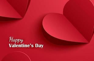 Glad Alla hjärtans dag gratulationskort med papper hjärtan på röd pastell bakgrund. vektor