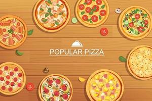 Pizza stellte anderes Menü auf hölzernem Hintergrund ein. Verwendung für Design, Poster, Flyer, Banner. vektor