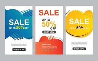 modern flytande abstrakt uppsättning till salu banners mall. användning för flygblad, rabatt specialerbjudande design, marknadsföring bakgrund. vektor