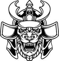 Tier Tiger Samurai Krieger Illustration vektor
