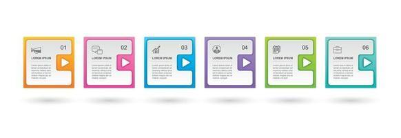 Infografiken Rechteck Papier Index mit 6 Datenvorlage. abstrakter Hintergrund der Vektorillustration. kann für Workflow-Layout, Geschäftsschritt, Banner, Webdesign verwendet werden.