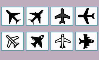Satz von Flugzeugsymbolen, Symbolen, für verschiedene Gestaltungselemente