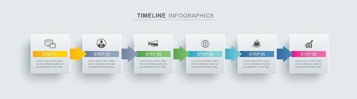6 Infografik Timeline Rechteck Vorlage Geschäftskonzept. Der Vektor kann für das Workflow-Layout, das Diagramm, die Optionen zur Erhöhung der Anzahl, das Webdesign und den Jahresbericht verwendet werden