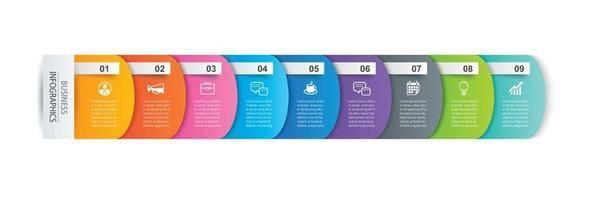 Registerkarten-Index für Infografiken mit 9 Datenvorlagen. abstrakter Hintergrund der Vektorillustration. kann für Workflow-Layout, Geschäftsschritt, Banner, Webdesign verwendet werden.