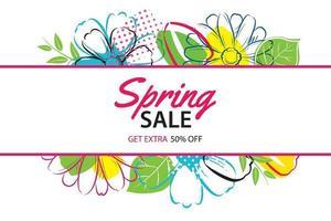Frühlingsverkaufsplakatschablone mit buntem Blumenhintergrund. kann für Gutschein, Tapete, Flyer, Einladung, Broschüre, Gutscheinrabatt verwendet werden. vektor