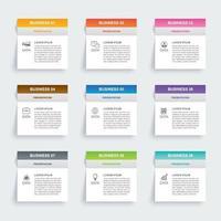 Infografiken Rechteck Papier Index mit 9 Datenvorlage. abstrakter Hintergrund der Vektorillustration. kann für Workflow-Layout, Geschäftsschritt, Banner, Webdesign verwendet werden.