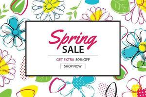 vår försäljning affisch mall med färgglada blommor bakgrund. kan användas för kupong, tapeter, flygblad, inbjudan, broschyr, kupongrabatt.