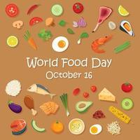 Welternährungstag Plakatschablone und Hintergrund. vektor