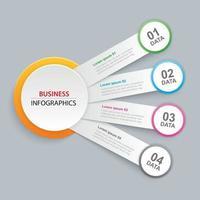 Infografiken Kreis Papier mit 4 Datenvorlage. abstrakter Hintergrund der Vektorillustration. kann für Workflow-Layout, Geschäftsschritt, Broschüre, Flyer, Banner, Webdesign verwendet werden.
