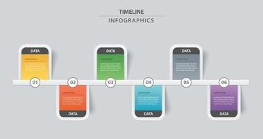 6 infographic tidslinjemall affärsidé. Vektor kan användas för arbetsflödeslayout, diagram, antal steguppgraderingsalternativ, webbdesign, årsrapport
