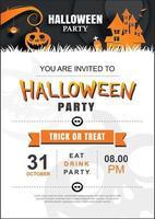 Halloween Einladung Party Poster Vorlage. Verwendung für Grußkarte, Flyer, Banner, Poster, Vektorillustration.