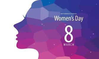 internationales Frauentagsplakat mit Frauensilhouette vektor