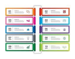 Registerkarten-Index für Infografiken mit 10 Datenvorlagen. abstrakter Hintergrund der Vektorillustration. kann für Workflow-Layout, Geschäftsschritt, Banner, Webdesign verwendet werden.