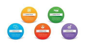 5 cirkel infographic med abstrakt tidslinjemall. presentation steg affärsmodern bakgrund. vektor