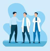 Gruppe von Ärzten mit Mann Avatar Charakter