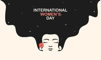 internationell kvinnodagsaffisch med kvinnans ansikte och blomma