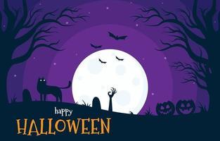 glückliches Halloween mit Mondlichtillustration im flachen Stil