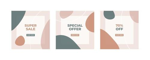 trendiga abstrakt fyrkantig mall för sociala medier post med natur koncept.