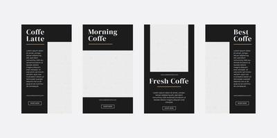 kaffe sociala medier berättelser mall vektor