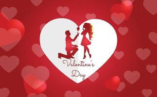 Alla hjärtans dag bakgrund koncept med hjärtan och par vektor