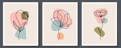 Satz Blumen durchgehende Strichzeichnungen. abstrakte zeitgenössische Collage geometrischer Formen in einem modernen trendigen Stil. Vektor für Schönheitskonzept, T-Shirt Druck, Postkarte, Poster