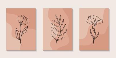 uppsättning blommor kontinuerlig konturteckning med abstrakt form i modern trendig stil. vektor för skönhetskoncept, t-shirt tryck, vykort, affisch