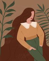 abstrakt kvinna och blad silhuetter i boho stil. abstrakta kvinnaporträtt i pastellfärger samtida konst. mode papper klippa element för sociala medier affischer vektor