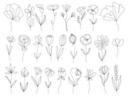 uppsättning vektor doodle handritad blommig element. dekorationselement för designinbjudan, bröllopskort, alla hjärtans dag, gratulationskort