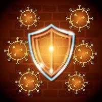 Neonlicht-Coronavirus mit Präventionssymbolen