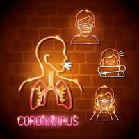 neonljus coronavirus ikonuppsättning