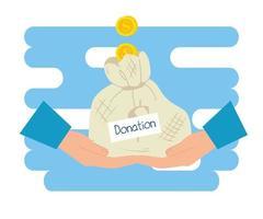 händer med påse pengar av välgörenhet och donation vektor
