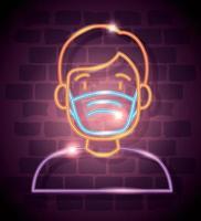 Neonlicht-Coronavirus-Symbol mit Mann, der Gesichtsmaske verwendet