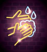 neonljus coronavirus ikon med händer tvätt