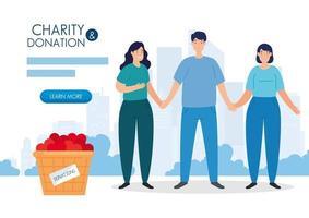 Menschen mit Korb für wohltätige Zwecke und Spenden