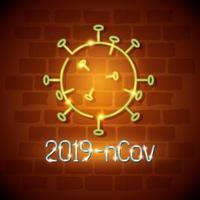 Neonlicht-Coronavirus-Symbol mit Viruspartikel