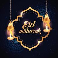 eid mubarak affisch med lyktor hängande och dekoration