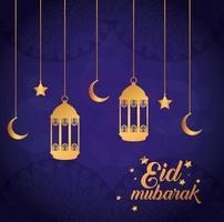 Eid Mubarak Poster mit Laternen und hängender Dekoration vektor