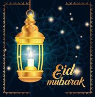 Eid Mubarak Poster mit Laterne hängen und Dekorationen vektor