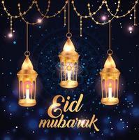 Eid Mubarak Poster mit hängenden Laternen und Dekoration