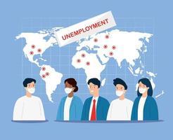 arbetslösa företagare med ansiktsmasker