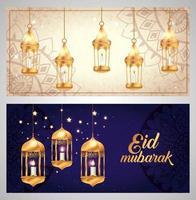 Set von Eid Mubarak Plakaten mit Dekoration vektor
