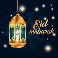 eid mubarak affisch med lykta hängande och dekorationer vektor