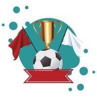 fotboll med trofékopp och flagga