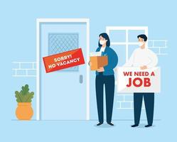affärsmän med ansiktsmasker som söker jobb